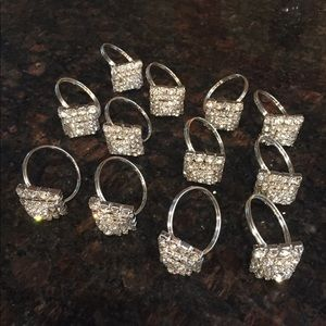 "12 Crystal "" diamond ring"" napkin rings"